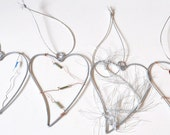 CHRISTMAS TREE DECORATION set of 6 metal hearts decorated with beads and coloured wire