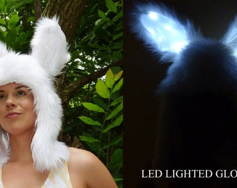 White Rabbit Aviator with LED Lighted Glow Bunny Ears