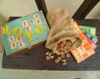 Vintage Boxed Lotto Game (like Bingo) Toy from 1950 In original Box with Cards Tokens and Original Bag