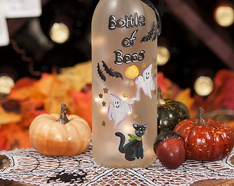 Halloween Bats Lighted Wine Bottle Hand Painted Bottle of Boos Spooky Ghosts Black Cat Halloween Lover Christmas Gift  Accent Lamp