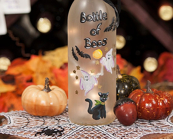 Bottle of Boos Halloween Party Bats Lighted Wine Bottle Hand Painted Spooky Ghosts Black Cat Halloween Wedding Anniversary Accent Lamp