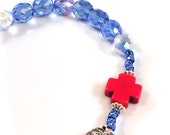 Decade Rosary Divine Mercy Clasp Blue and Red