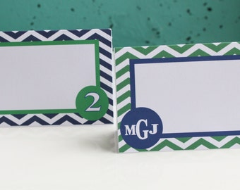 PREPPY CHEVRON MONOGRAM Birthday or Baby Shower Buffet Cards Table Tents Food Labels {Set of 8} You Pick Colors