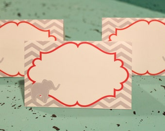 PREPPY CHEVRON ELEPHANT Baby Shower or Happy Birthday Buffet Cards Table Tents Food Labels Signs {Set of 8} Grey Red - Party Packs Available