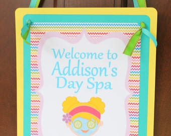 RAINBOW SPA  Happy Birthday or Baby Shower Door or Welcome Sign - Party Packs Available