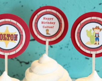 CUTE COWBOY Theme Happy Birthday or Baby Shower Cupcake Toppers 12 One Dozen - Party Packs Available