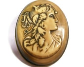 Antique Victorian cameo, tan buff colored cameo of Bois Durci or Vulcanite plastic