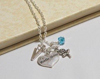 Personalized Middle Sister Necklace with Your Initial and Birthstone
