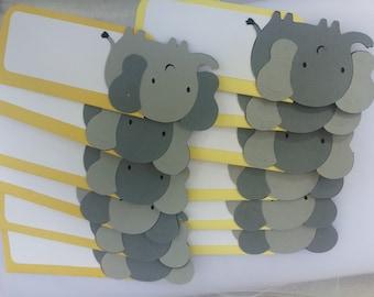 12 elephant place cards, party decoration, you pick color