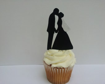 12 Silhouette cupcake toppers, wedding, Bride and Groom