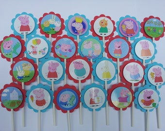 Peppa Pig cupcake toppers, picks, party decoration