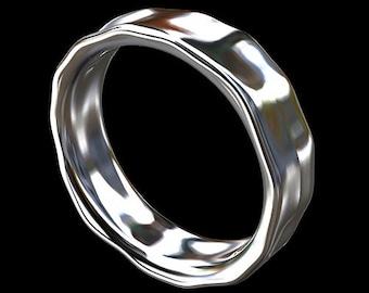 Hammer Finish Men's Wedding Ring, Platinum Men's Wedding Band, Eternity Men's Wedding Ring, Unique Men's Ring, Platinum Men's Ring 6mm