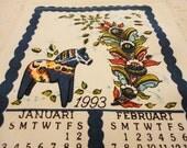 1993 Scandinavian Theme Calendar Towel - Blue Rosemaling Pattern - Dala Horse