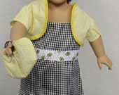 "18"" Doll Clothes -American Girl Doll -Our Generation Doll  - Doll Black and White Gingham Bee Sundress, Jacket, Shoes & Purse for 18"" Doll"