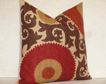 Decorative Pillow Cover - Fahri In Clove - Suzani - Red - Rust - Warm Brown - Tan - Accent Pillow
