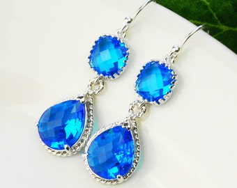 Sapphire Earrings - Crystal Earrings - Blue Earrings - Teardrop Earrings for Women -  Bridesmaids Earrings - Wedding Jewelry