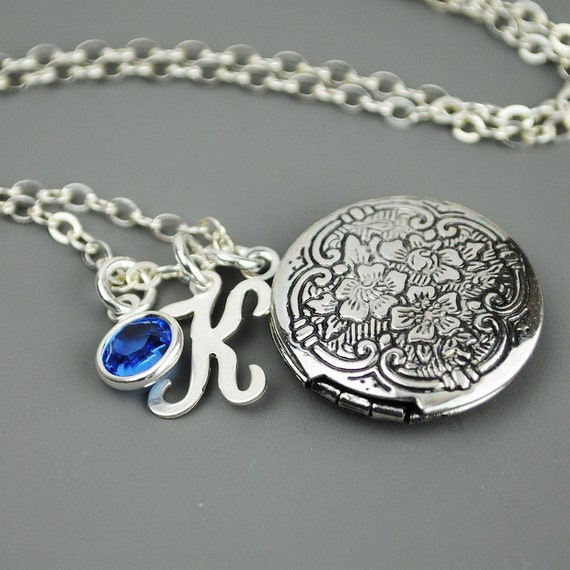 Personalized Locket Necklace - Silver Initial Birthstone Necklace - Silver Locket Necklace - Swarovski Birthstone - Sterling Silver Chain