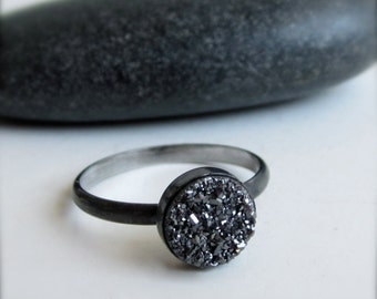 Midnight Druzy Sterling Silver Ring