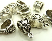 10 Textured Bail Beads 1 Loop 7x14mm - Antique Silver Tone Metal - Detailed Ornate Pattern - BM9