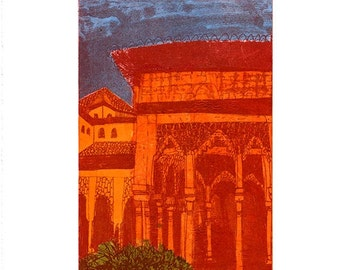 Alhambra Courtyard Etching & Chine Colle Hand Pulled Original Print