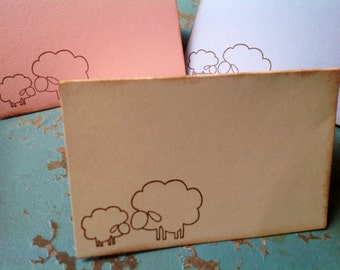 Lamb Ewe Sheep Placecards for Baby Showers Candy Buffet Sign/Gift enclosure cards-Set of 12