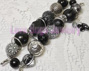 Shabby Chic Black -  Chunky Beaded Interchangeable Watch Band, Black Chunky Beaded Watch Band