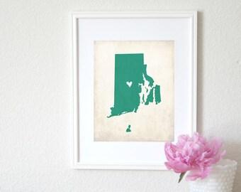 Rhode Island Love State Map Customizable Art 8x10 Print.