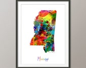 Mississippi Map USA, Art Print (1157)