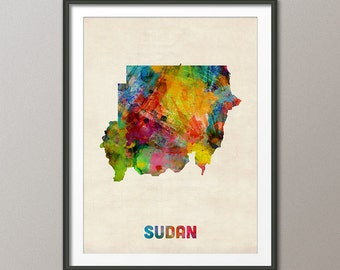 Sudan Watercolor Map, Art Print (1104)
