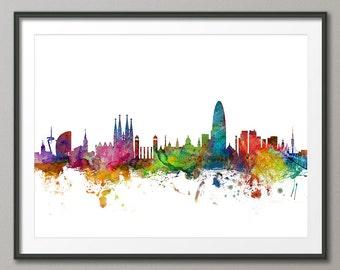 Barcelona Skyline, Barcelona Spain Cityscape Art Print (1176)