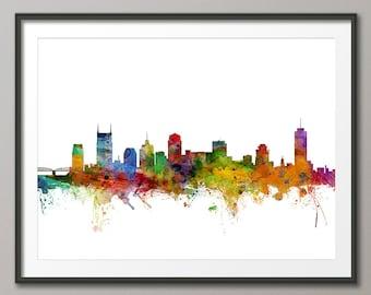 Nashville Skyline, Nashville Tennessee Cityscape Art Print (1215)