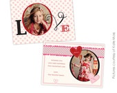 INSTANT DOWNLOAD - Valentine Card Photoshop Template - Romantic dots - E268