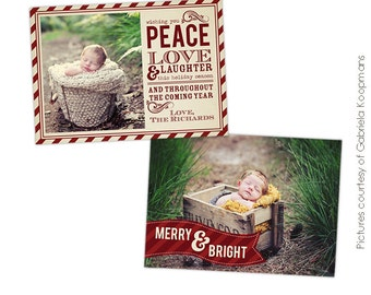 INSTANT DOWNLOAD - Christmas Card Photoshop template - Classic Wishes - E519