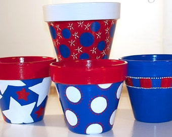 Red White & Blue July 4th Flower Pots - Set of FOUR 8-inch POTS