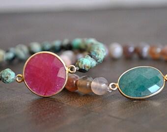 EMERALD CHARM BRACELET with botswana agate beads