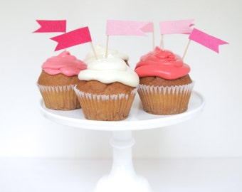 pink felt flags cupcake toppers