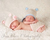 Hand crocheted baby bear hat & diaper cover sets for twins