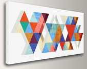 "Mid Century Modern Art - Panorama size up to 3x6 feet - Canvas Print - Colorful Triangles on White  - Vintage Modern Wall Decor  - ""Stagger"""
