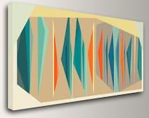 "Mid Century Modern Art - Teal and Orange Decor - Canvas Print - Geometric Art  - Vintage Modern Wall Decor  - "" Multiplex Panorama """""