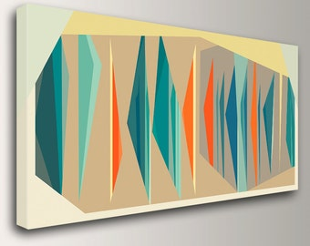 "Mid Century Modern Art - Teal and Orange Decor - Canvas Print - Geometric Art  - Vintage Modern Wall Decor  - "" Multiplex Panorama """""