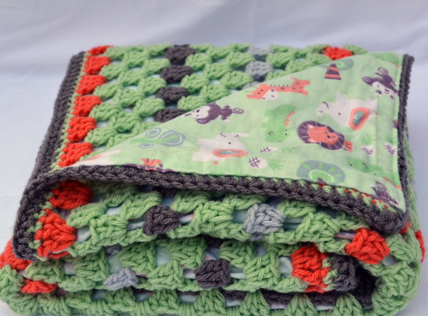 Baby Zoo Afghan Crochet Pattern : Zoo Babies crochet baby blanket granny square reversible