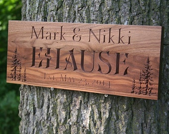 Rustic Family Established Signs, Rustic Last Name Signs, Benchmark Custom Signs Walnut TL