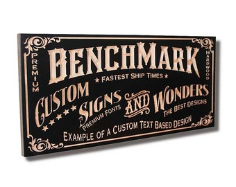 Custom Sign: Engraved Wooden Sign for Custom Text Man Cave Sign Motorcycle Sign Business Sign Black/Maple CT