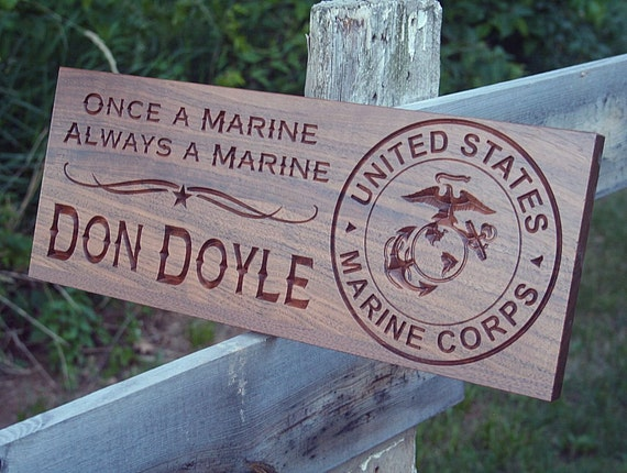 Marine Corps Sign Last Name Sign Retirement Gift Custom Sign Family Established Sign Personalized Military Sign Cabin Sign Walnut MS