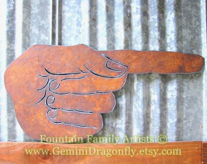 Pointing Finger Sign Large Vintage Manicule Typographic Icon Home Decor