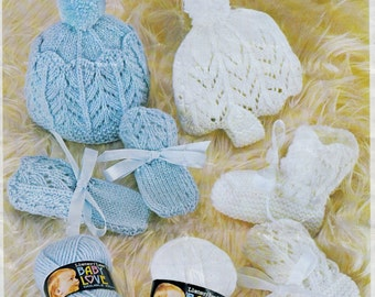 Baby  Hats - 2 styles Mittens and Bootees Dk 8ply yarn Lister 1368 - PDF of Vintage Knitting Patterns