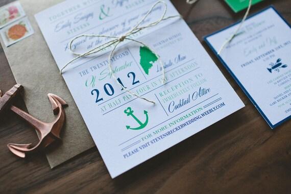 Wedding Invitation: Modern and Nautical Anchor - Green and Navy