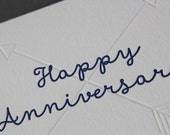 Happy Anniversary, letterpress printed card, blind printed arrows