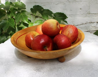 Vintage Wooden Salad Fruit Bowl- Hand Painted- Three Feet- Centerpiece/ Coffee Table Bowl
