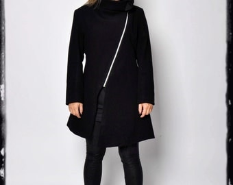 Black wool coat/Cashmere coat jacket/Extravagant coat jacket/Woman asymmetrical coat with zipper/Black 100% wool coat/Cazual coat/C0008